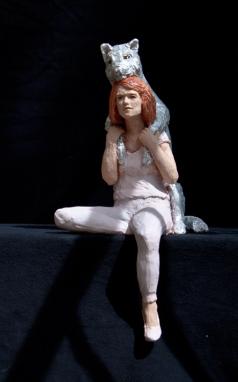 Skulptur, Tier Mensch, Terrakotta